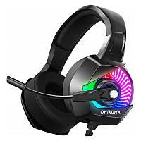 Игровые наушники с микрофоном и RGB подсветкой Onikuma K6  Black/RGB геймерская гарнитура черные, фото 1