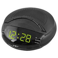 Часы сетевые VST-903-2 зеленые, радио FM, 220V