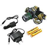 Ліхтар налобний Police 6813-T6, ЗУ 220V/12V, 2x18650, zoom, Box, фото 3