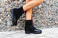 Женские стильные замшевые ботиночки и лаковыми вставками . АРТ-0128