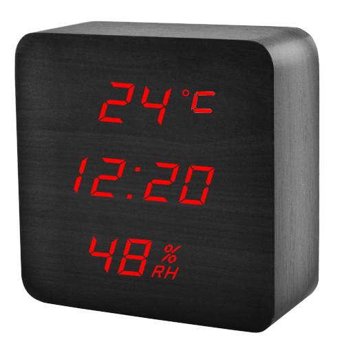 Часы сетевые VST-872S-1, красные, температура, влажность, USB