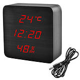 Часы сетевые VST-872S-1, красные, температура, влажность, USB, фото 2