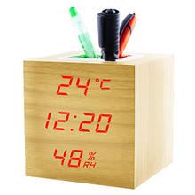 Годинник мережеві VST-878S-1, червоні, температура, вологість, USB