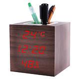 Годинник мережеві VST-878S-1, червоні, температура, вологість, USB, фото 2