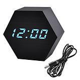 Часы сетевые VST-876-5, синие, температура, USB, фото 2