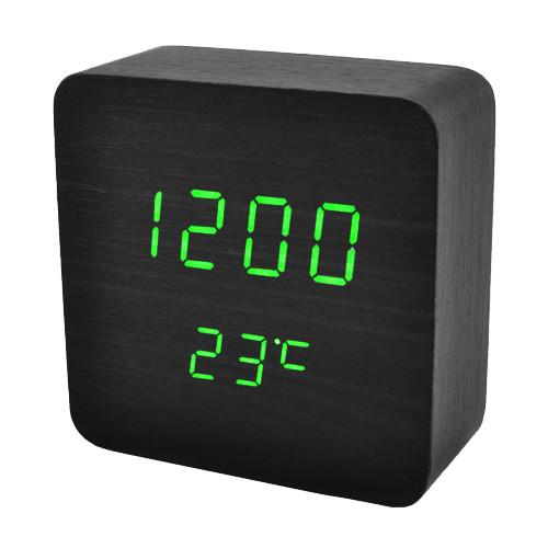 Часы сетевые VST-872-4, зеленые, температура, USB
