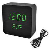 Часы сетевые VST-872-4, зеленые, температура, USB, фото 2