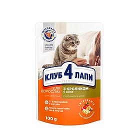 Клуб 4 лапи д/котів ПАУЧ 0,1 кг КРОЛИК В ЖЕЛЕ
