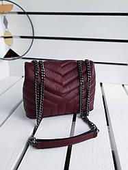 Шкіряна жіноча сумка розміром 22х17х8 см Бордова (01279)