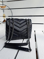 Шкіряна жіноча сумка розміром 22х17х8 см Чорна (01278)