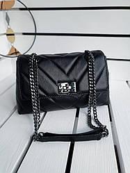 Шкіряна жіноча сумка розміром 29х17х9 см Чорна (01277)