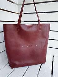 Шкіряна жіноча сумка-шоппер розміром 41х39 см Бордова (01274)