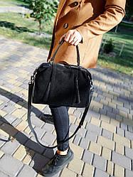 Шкіряна/замшева сумка розміром 30х20х13 см Чорна (01271)
