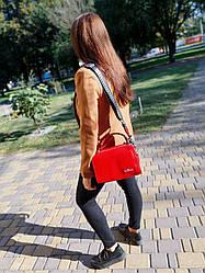 Шкіряна жіноча сумка розміром 26х16х12 см Червона (01266)