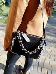 Шкіряна/замшева сумка розміром 24х19 см Чорна (01264)
