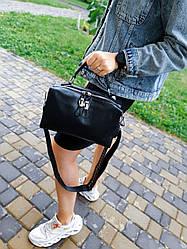 Шкіряна жіноча сумка розміром 26х16х12 см Чорна (01262)