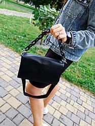 Шкіряна жіноча сумка розміром 24х16х10 см Чорна (01261)