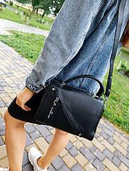 Шкіряна жіноча сумка розміром 23х18 см Чорна (01259)