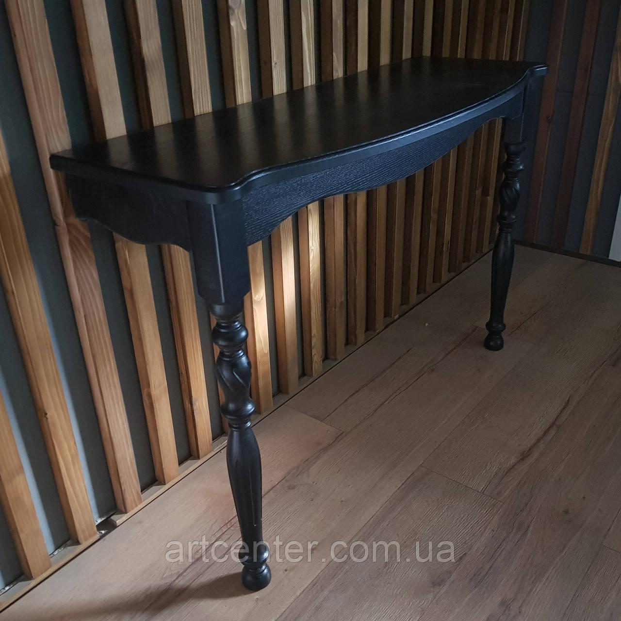 Приставной консольный стол черного цвета  с фигурными ножками