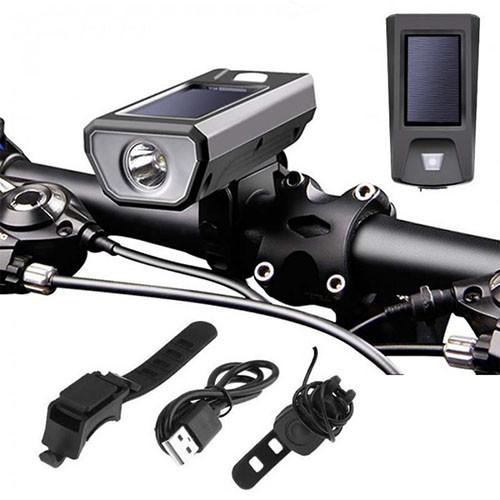 Велозвонок + фара FY-316-XPE, сонячна батарея, виносна кнопка, Waterproof, акум., ЗУ mircoUSB