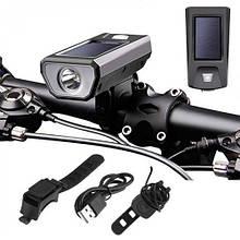 Велозвонок + фара FY-316-XPE, солнечная батарея,  выносная кнопка, Waterproof, аккум., ЗУ mircoUSB
