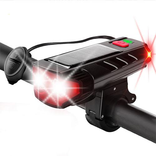 Велозвонок + фара FY-329Pro-2L2 ULTRA LIGHT, MEGA SIGNAL, солн.батарея, выносная кнопка, Waterproof, аккум.,