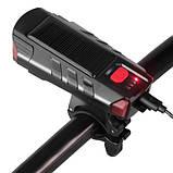 Велозвонок + фара FY-329Pro-2L2 ULTRA LIGHT, MEGA SIGNAL, солн.батарея, выносная кнопка, Waterproof, аккум.,, фото 3