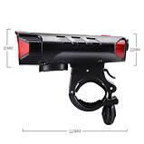 Велозвонок + фара FY-329Pro-2L2 ULTRA LIGHT, MEGA SIGNAL, солн.батарея, выносная кнопка, Waterproof, аккум.,, фото 4