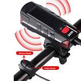 Велозвонок + фара FY-329Pro-2L2 ULTRA LIGHT, MEGA SIGNAL, солн.батарея, выносная кнопка, Waterproof, аккум.,, фото 5