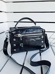Шкіряна жіноча сумка розміром 26х18х12 см Чорна (01256)