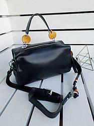 Шкіряна жіноча сумка розміром 27х17х12 см Чорна (01255)
