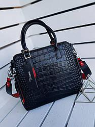 Жіноча шкіряна сумка розміром 32х28 см Чорна з тисненням під крокодила (01253)