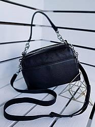 Шкіряна жіноча сумка розміром 25х16х12 см Чорна (01251)