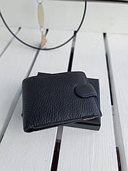 Кожаный мужской кошелек размером 11,5x9,5x2,5 см Черный (01280)