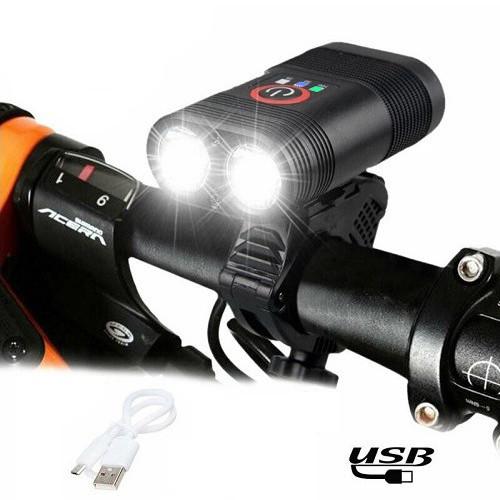 Велофонарь Y12Pro-2XPE DUAL MEGALIGHT, ALUMINUM, индикация заряда, Waterproof, аккум., ЗУ micro USB