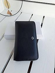 Кожаное мужское портмоне на молнии размером 19х10х3 см Черный (01285)