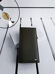 Женский кожаный кошелек размером 10х19х3 см Темно-зеленый (01289)