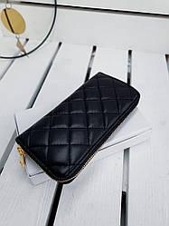 Кожаный женский кошелек размером 20х10х2.5 см Черный