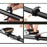 Велозвонок + фара 7588, выносная кнопка, Waterproof, аккум.,  ЗУ micro USB, фото 4
