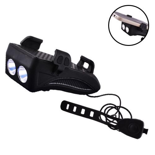 Велофонарь FY-319-2LM(5W), ЗУ micro USB, встроенный аккумулятор, звонок + крепление под телефон