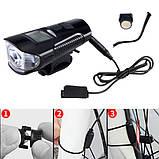 Велозвонок + комп'ютер + фара XA-585-T6+2LED, виносна кнопка, Waterproof, акум., ЗУ micro USB, фото 7