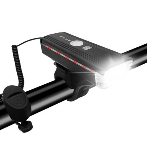 Велозвонок + фара HJ-062-XPE ULTRA LIGHT, ALUMINUM, AUTOLIGHT SENSOR, выносная кнопка, индикация заряда,