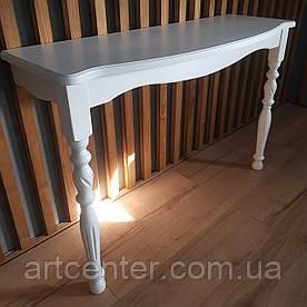 Приставной консольный стол белого цвета  с фигурными ножками
