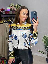 Сорочка жіноча яскрава шифонова з візерунком