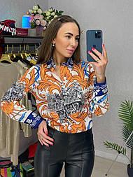 Рубашка женская яркая шифоновая с узором