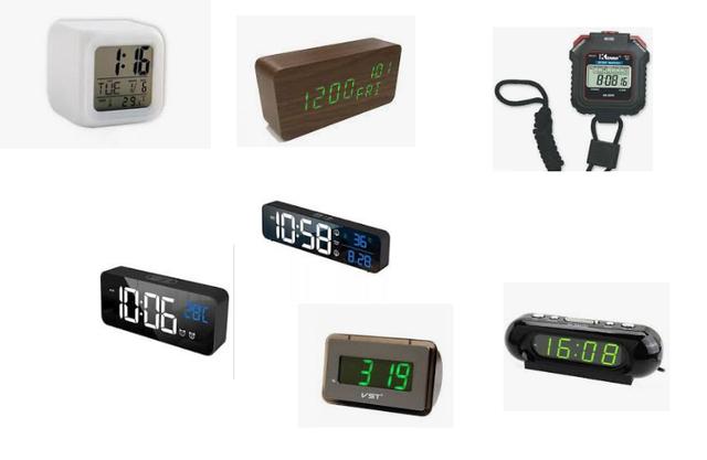 Часы электронные настольные, автомобильные, секундомеры