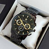 Мужские наручные часы Rolex (ролекс) черного цвета c дополнительными циферблатами - код 1897, фото 1