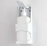 Дозатор для антисептика настенный локтевой с флаконом белый диспенсер для дезинфицирующего средства 1 литр