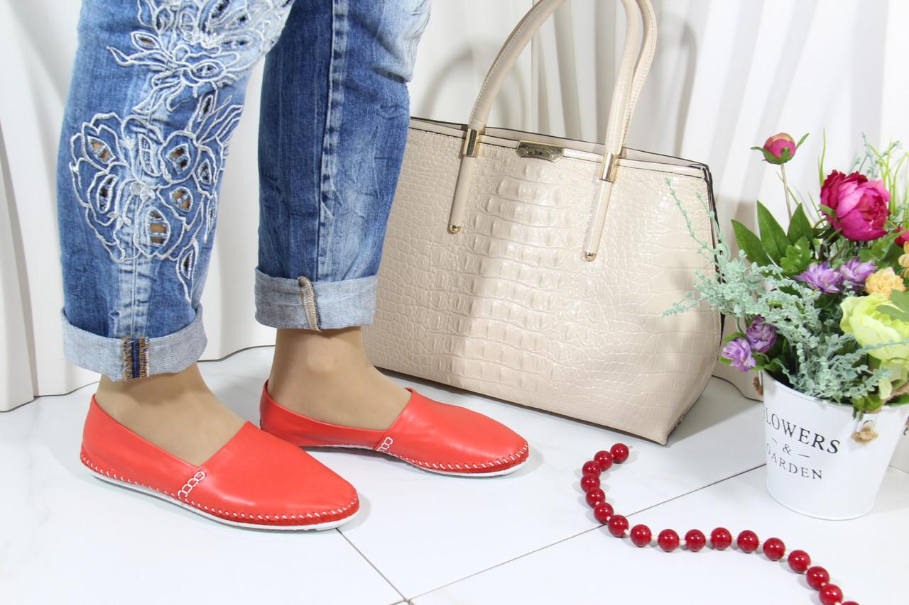 Женские кожаные мокасины Marcha 101-red