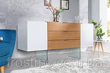 Серванта Оникса 160см белое стекло Дуб / 36198